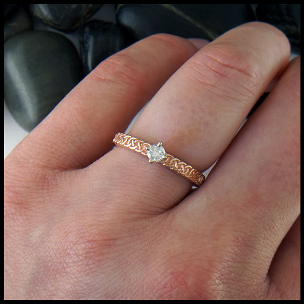 Josephine's Knot Ring in Rose Gold with Reclaimed Diamond