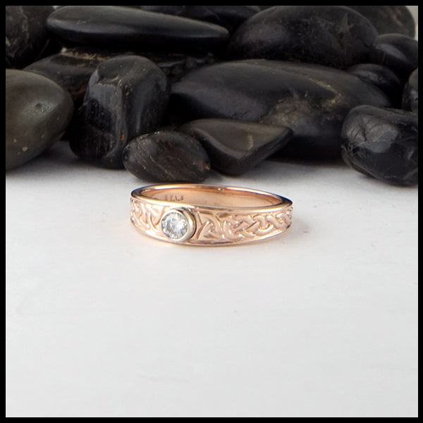 Bezel Set Reclaimed Diamond Celtic Ring