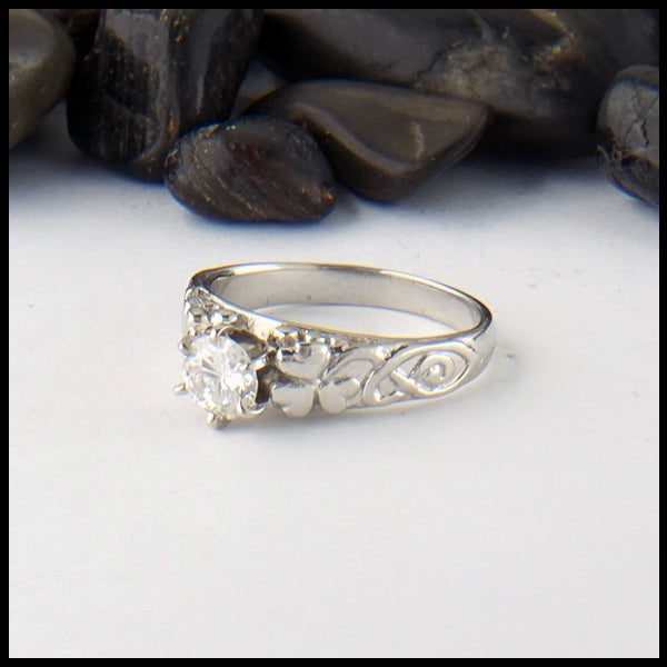 Shamrock Ring in White Gold with Reclaimed Diamond