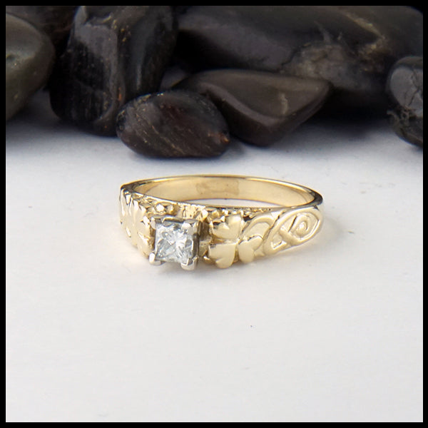 Shamrock Ring with Princess Cut Reclaimed Diamond