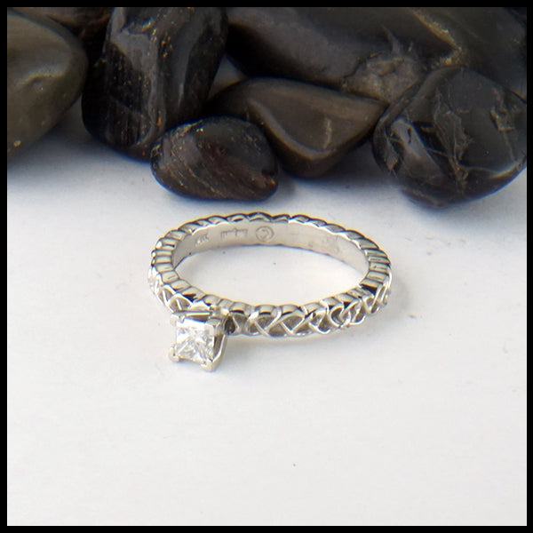 Heart Knot Ring with Reclaimed Diamond