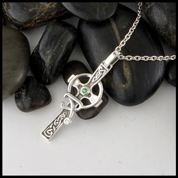 Celtic Nurses Cross in Sterling Silver with birthstone