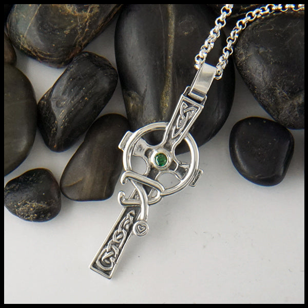 Large Celtic Caring Cross with Birthstone