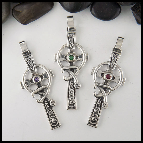 Celtic caring cross with birthstone