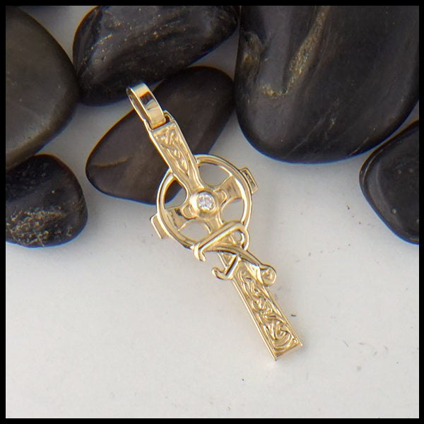 Small Celtic Caring Cross with Stone in Gold