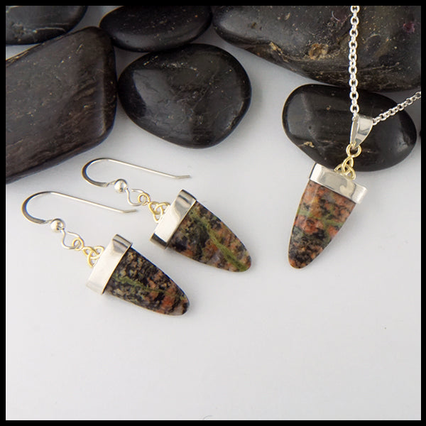 Bloodstone Pendant and Earring Set
