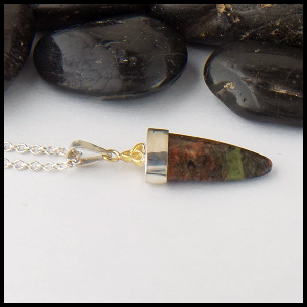 Bloodstone Pendant in Silver and Gold
