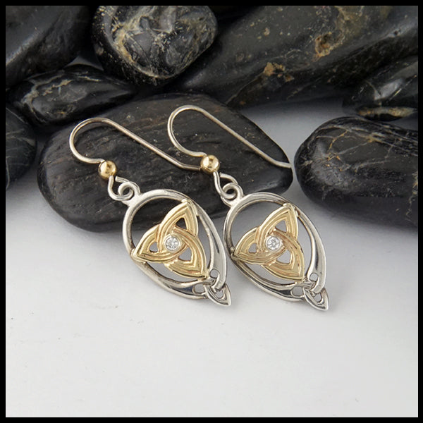Trinity Knot and Diamond Earrings