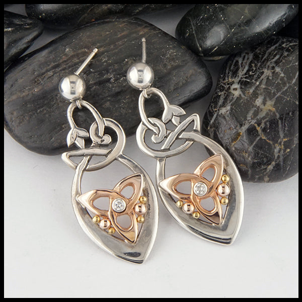 Drop Earrings with Trinity and Diamonds