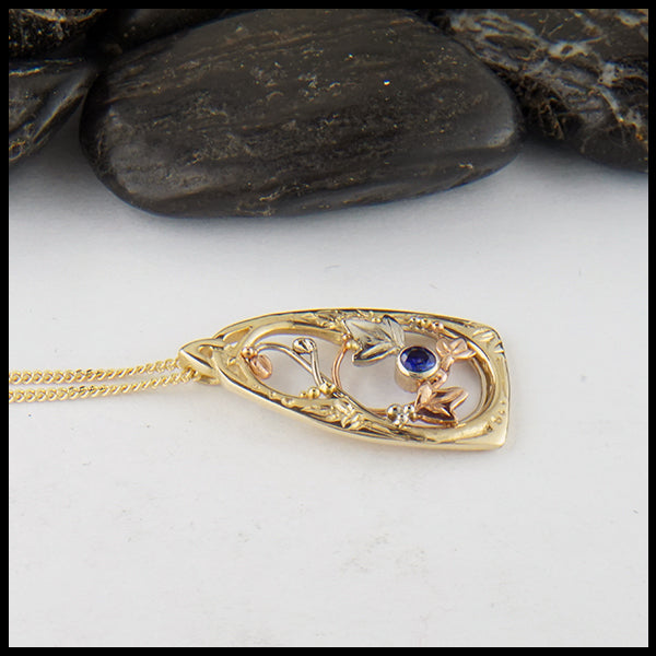 Sapphire and Ivy Gold Pendant