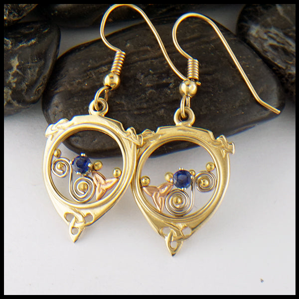 Gold and Sapphire Earrings