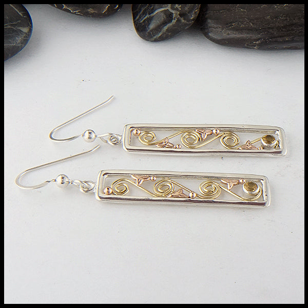 Long Drop Earrings in Gold & Silver with Citrine
