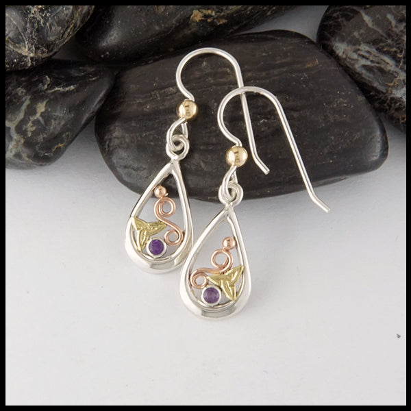 Dainty Trinity Earrings with Amethyst