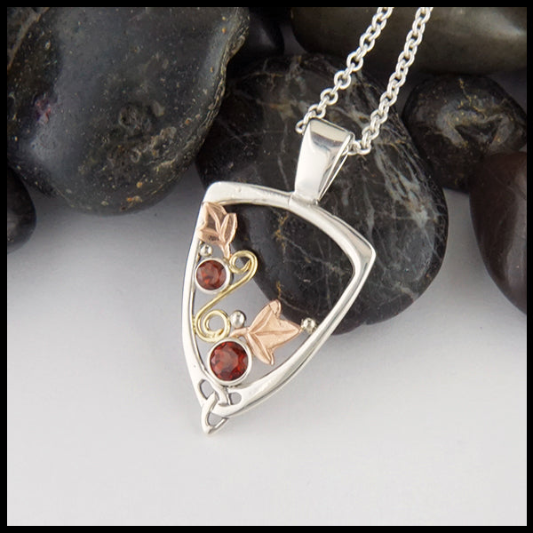 Garnet Ivy Pendant in Silver and Gold