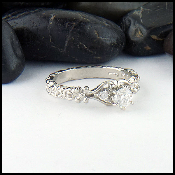 Trinity Scroll 3 Stone Diamond Ring