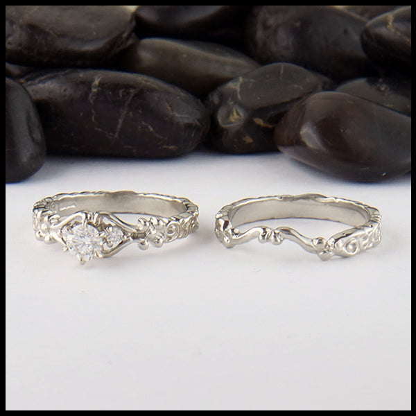 Trinity Scroll 3 Stone Diamond Ring Set