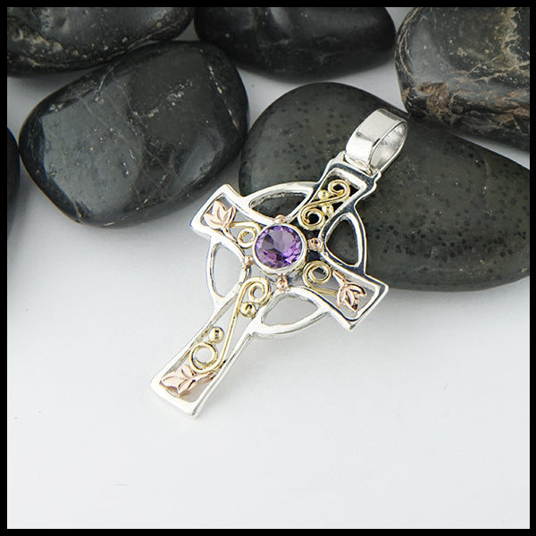 Small Celtic Cross Pendant with Ivy and Amethyst