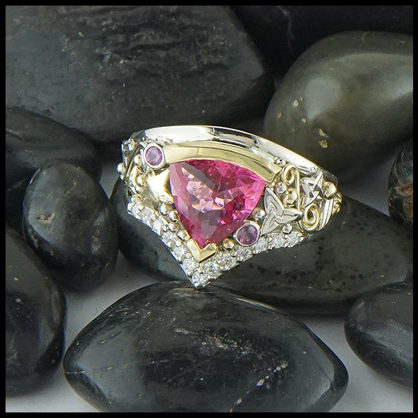 Pink Tourmaline Chevron Ring