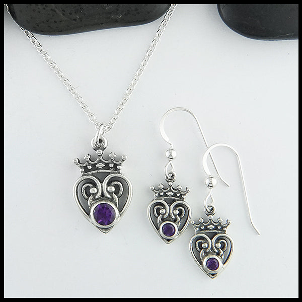 Amethyst Luckenbooth Pendant and Earring Set