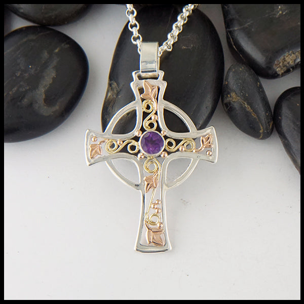 Large Celtic Cross Pendant with Ivy and Amethyst