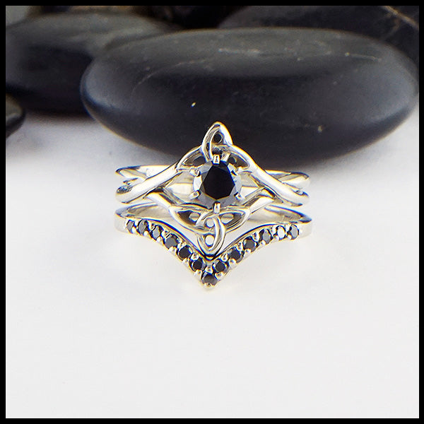 Black Diamond Interlocking Wedding Set