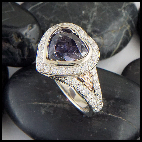 Gray Sapphire Heart Ring