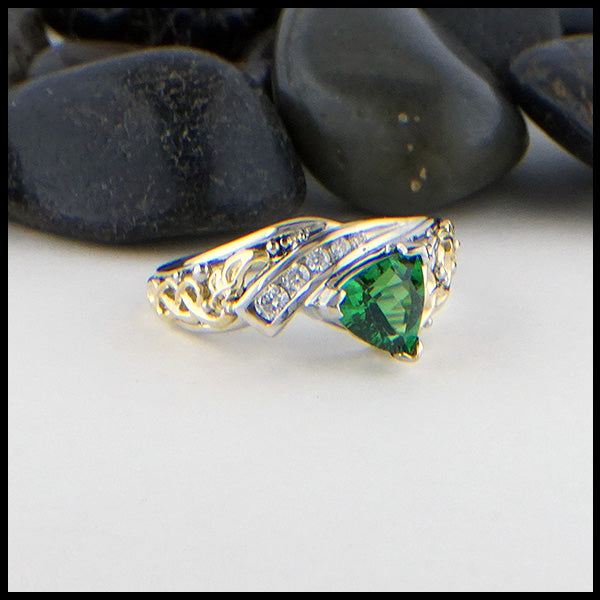 Trilliant Tsavorite and Diamond Ring