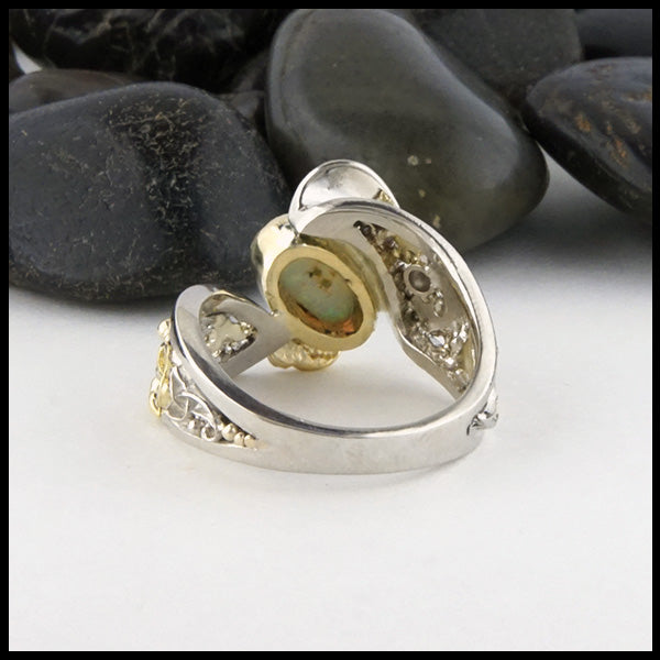 Underside view of Celtic Opal Ring