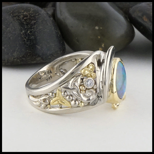 Side view of Celtic Oval Opal Ring
