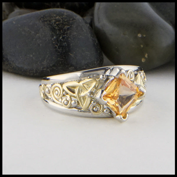 Orange Sapphire Celtic Ring by Walker Metalsmiths