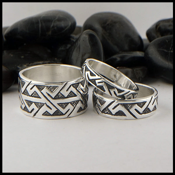Wide Pictish Key Pattern Ring in Sterling Silver