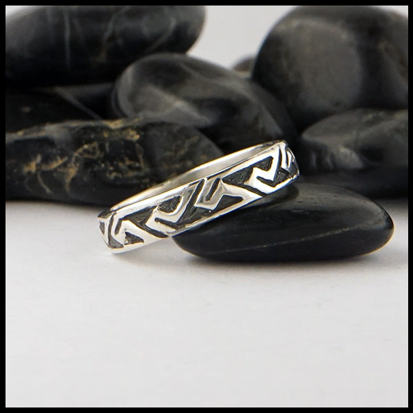 Narrow Pictish Key Pattern Ring in Silver