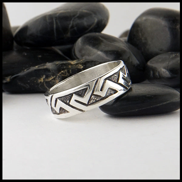 Pictish Key Pattern Ring in Sterling Silver