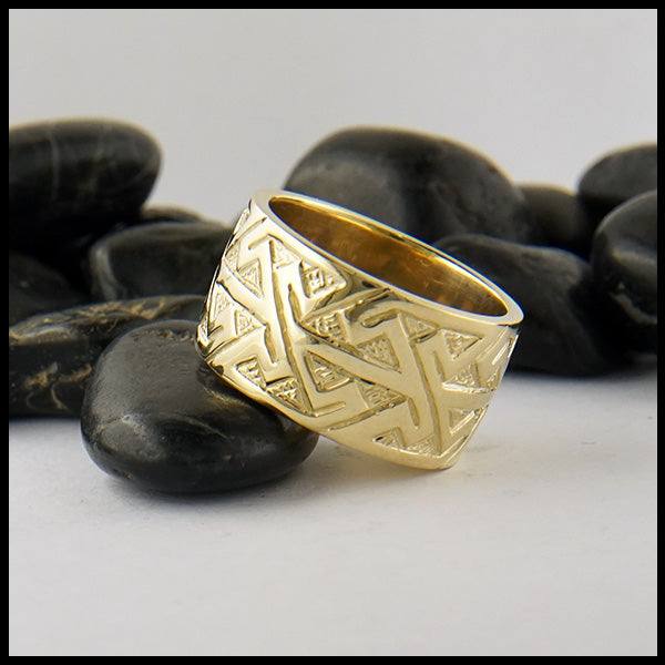 Wide Pictish Key Pattern Ring in Gold