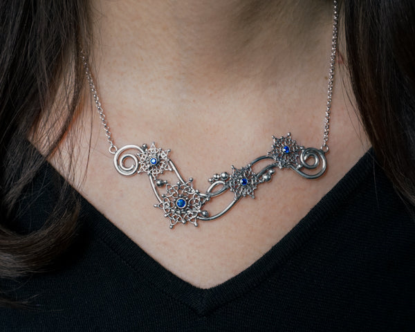 Sapphire Snowflake Bar Necklace