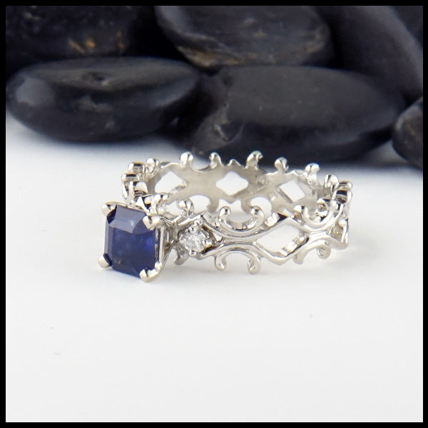 Sapphire and Diamond Fleur ring