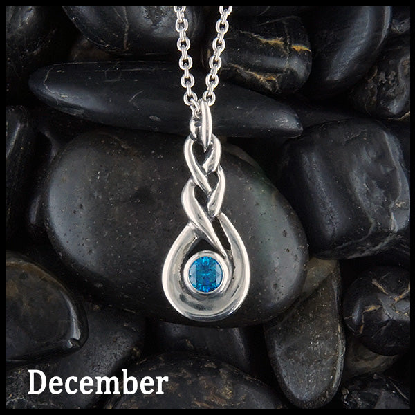 December Celtic Birthstone Pendant in Sterling Silver