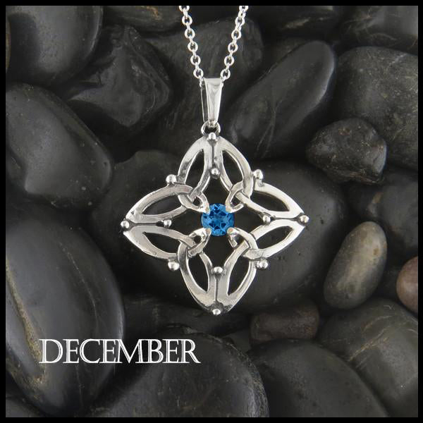 December Birthstone Celtic Trinity Star Pendant