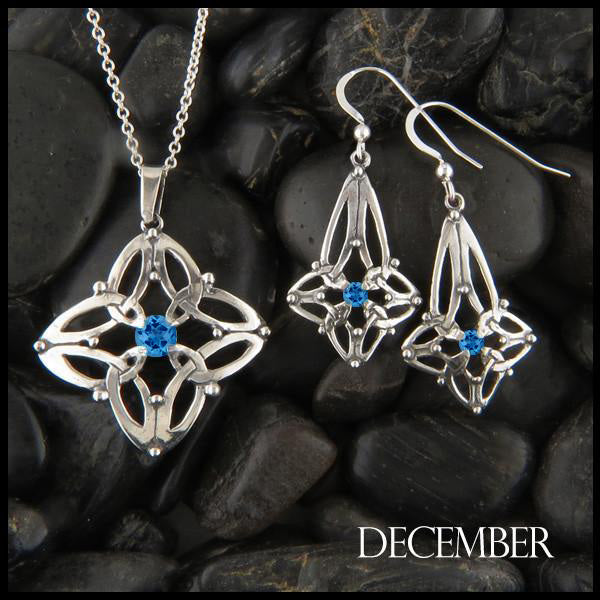 December Birthstone Celtic Trinity Star Pendant and Earring Set