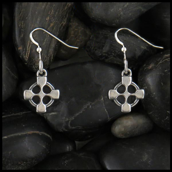 small celtic cross earrings sterling silver equal arms drop walker metalsmiths