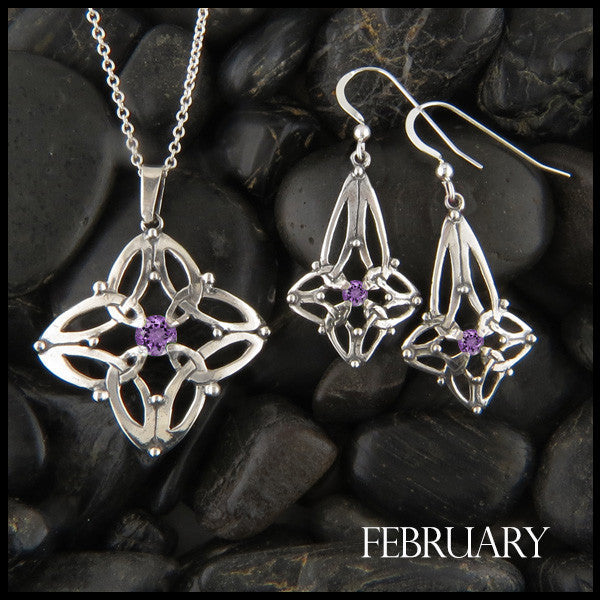 February Birthstone Celtic Trinity Star Pendant and Earring Set