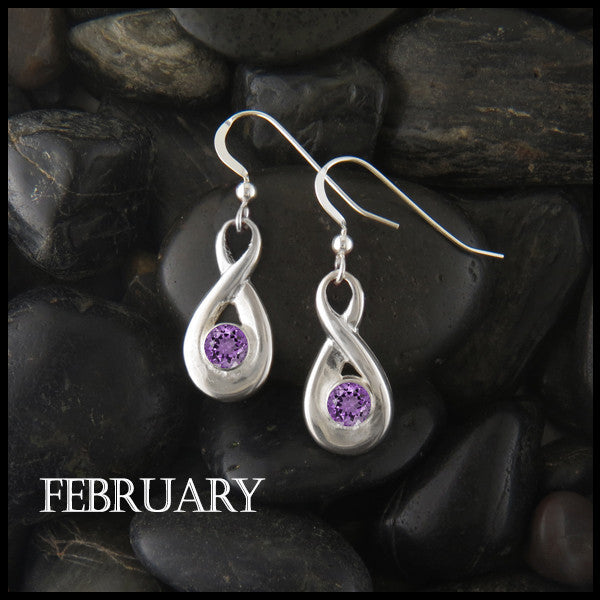 February Birthstone Celtic Eternity Earring in Silver