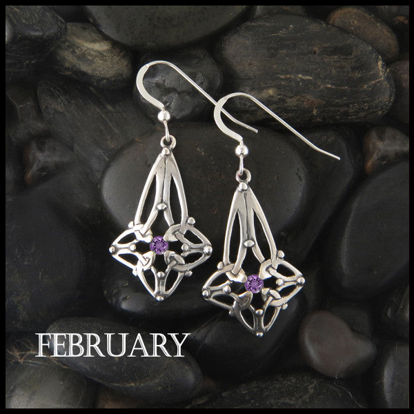 February Birthstone Celtic Trinity Star Earrings in Silver
