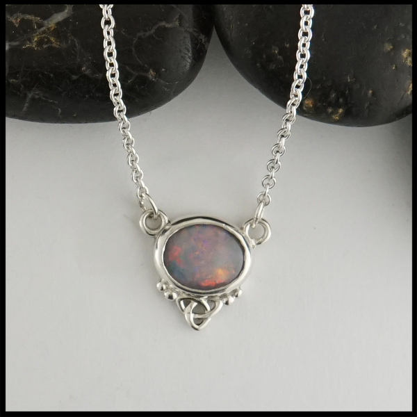 This 1.43 ct opal is custom set in a sterling silver pendant.