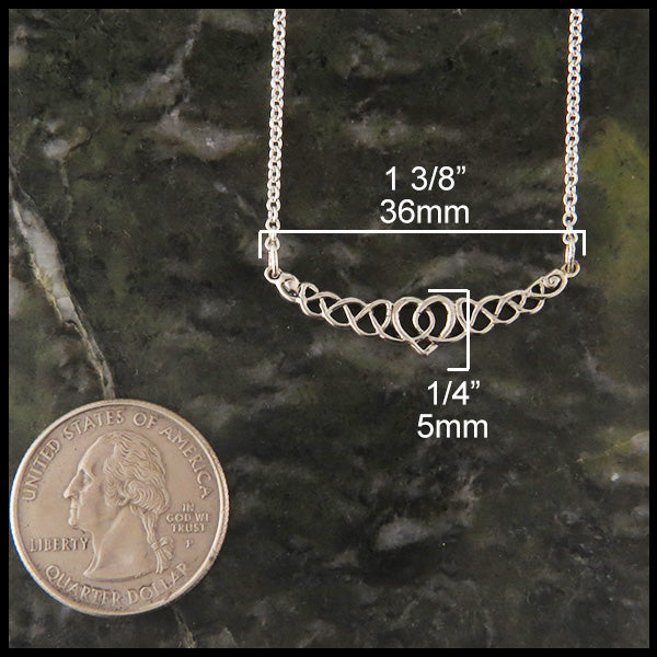 Heart knot bar pendant in silver walker metalsmiths celtic jewelry celtic love knot necklace aloadofball Image collections