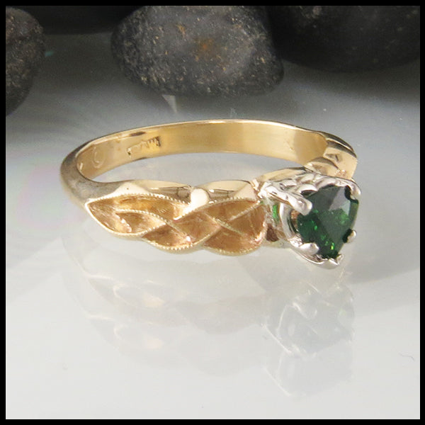 Heart Shaped Tsavorite Ring in Yellow Gold