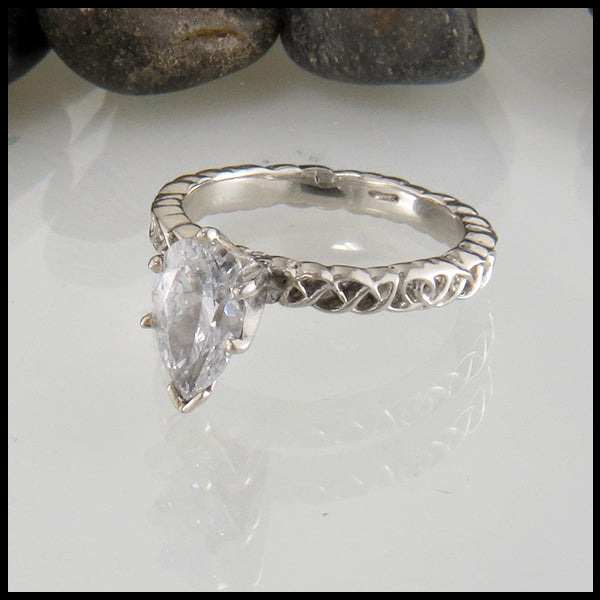 Pear Shaped Engagement Ring in White Gold
