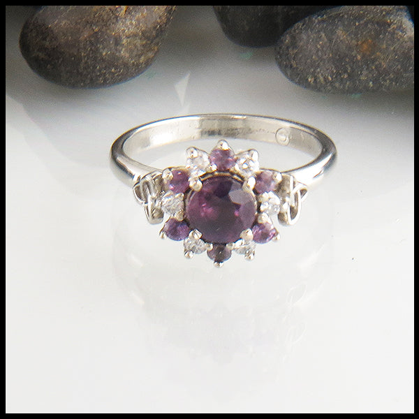 Purple Sapphire Trinity Knot Halo Ring with Diamonds