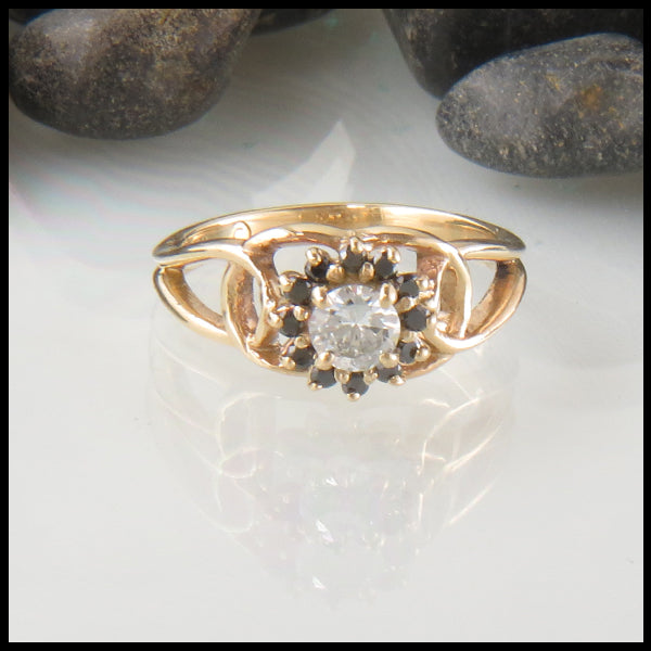 Diamond and Black Diamond Halo in Gold