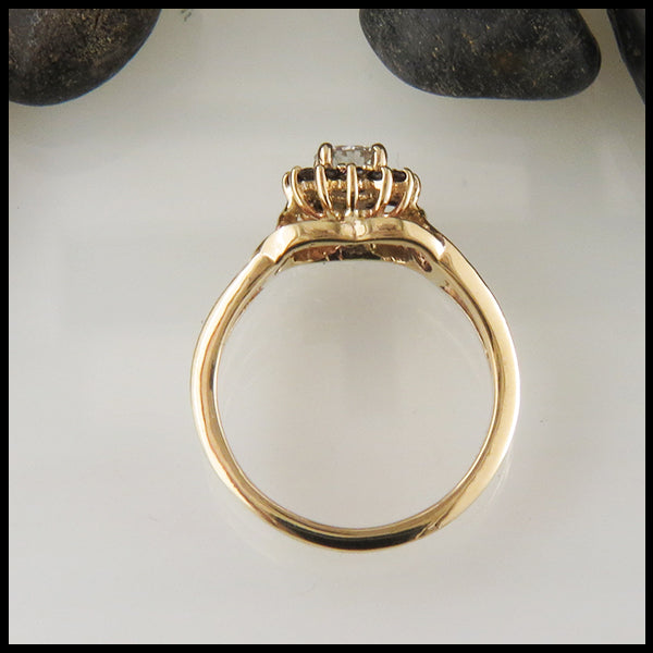 Yellow Gold and Black Diamond Ring